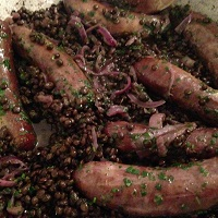 Sausages with Puy Lentils